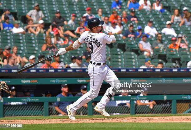 Nicholas Castellanos of the Detroit Tigers hits a walkoff gamewinning home run in the bottom of the tenth inning of the game against the Toronto Blue...