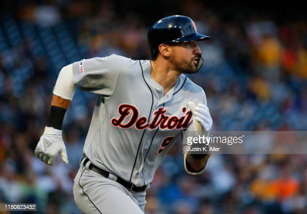 Nicholas Castellanos of the Detroit Tigers hits an RBI double in the third inning against the Pittsburgh Pirates during interleague play at PNC Park...