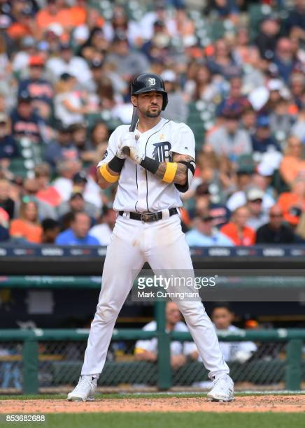 Nicholas Castellanos of the Detroit Tigers looks on while batting during game one of a double header against the Cleveland Indians at Comerica Park...