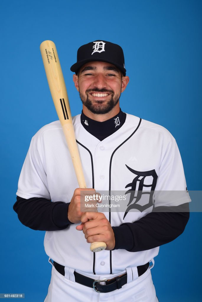 Nicholas Castellanos #9 of the Detroit Tigers poses for a photo during photo day on February 20, 2018 in Lakeland, Florida.