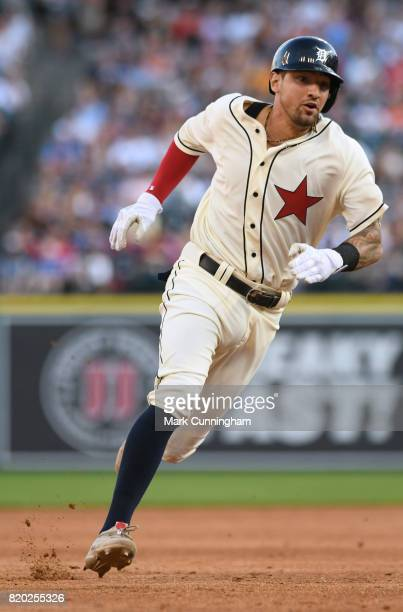 Nicholas Castellanos of the Detroit Tigers runs the bases while wearing a Detroit Stars Negro League Tribute uniform during game two of a double...