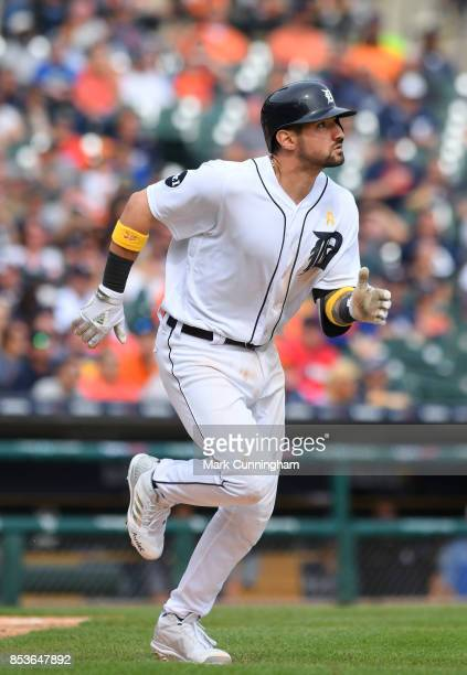 Nicholas Castellanos of the Detroit Tigers runs to first base during game one of a double header against the Cleveland Indians at Comerica Park on...