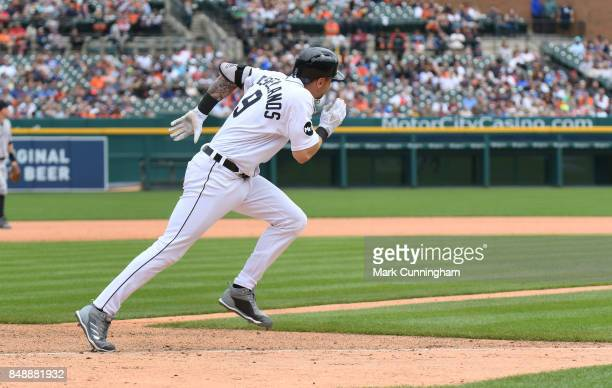 Nicholas Castellanos of the Detroit Tigers runss to first base during the game against the New York Yankees at Comerica Park on August 24 2017 in...