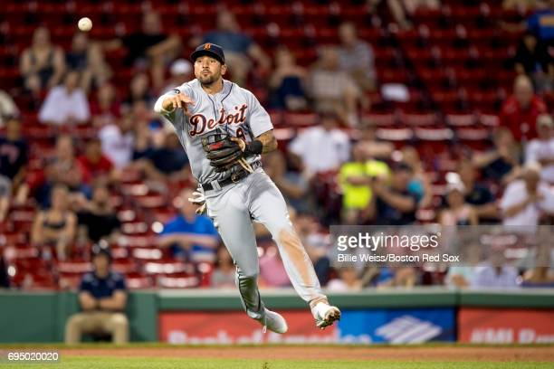 Nicholas Castellanos of the Detroit Tigers throws to first base during the ninth inning of a game against the Boston Red Sox on June 11 2017 at...