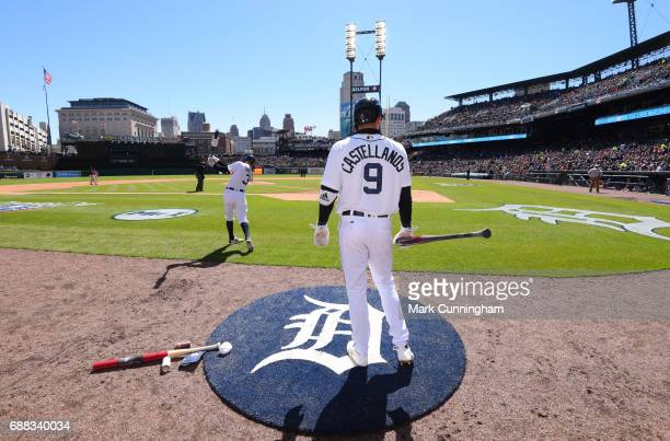 Nicholas Castellanos of the Detroit Tigers waits ondeck to bat during the Opening Day game against the Boston Red Sox at Comerica Park on April 7...