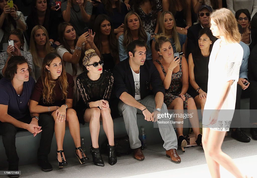 Nicholas Cinque, Chloe Curtis, Casey LaBow, Mohammed Al Turki, Sophie Curtis and Perrey Reeves attend the Jill Stuart Spring 2014 fashion show during Mercedes-Benz Fashion Week at The Stage at Lincoln Center on September 7, 2013 in New York City.