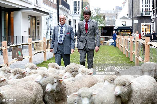 Nicholas Coleridge and Alex James joins Bowmont Merino and Exmoor Horn sheep grazing the length of Savile Row to mark the launch of Wool Week 2015...