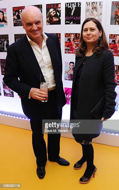 Nicholas Coleridge and Alexandra Shulman attend the opening drinks party hosted by Jonathan Newhouse to celebrate the opening of Conde Nast Worldwide...