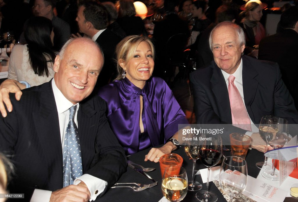 (L to R) Nicholas Coleridge, Nadja Swarovski and Sir Tim Rice attend the dinner to celebrate The David Bowie Is exhibition in partnership with Gucci and Sennheiser at the Victoria and Albert Museum on March 19, 2013 in London, England.