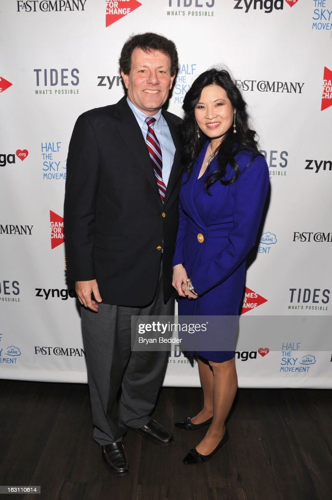 Nicholas D. Kristof and Sheryl WuDunn attend Games For Change presents the launch of Half The Sky Movement: The Game at No. 8 on March 4, 2013 in New York City.