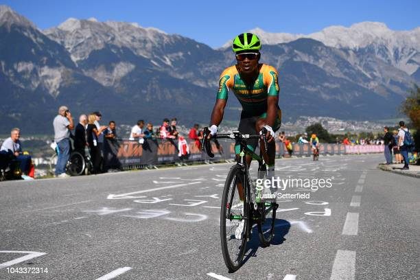 Nicholas Dlamini of South Africa / during the Men Elite Road Race a 2585km race from Kufstein to Innsbruck 582m at the 91st UCI Road World...