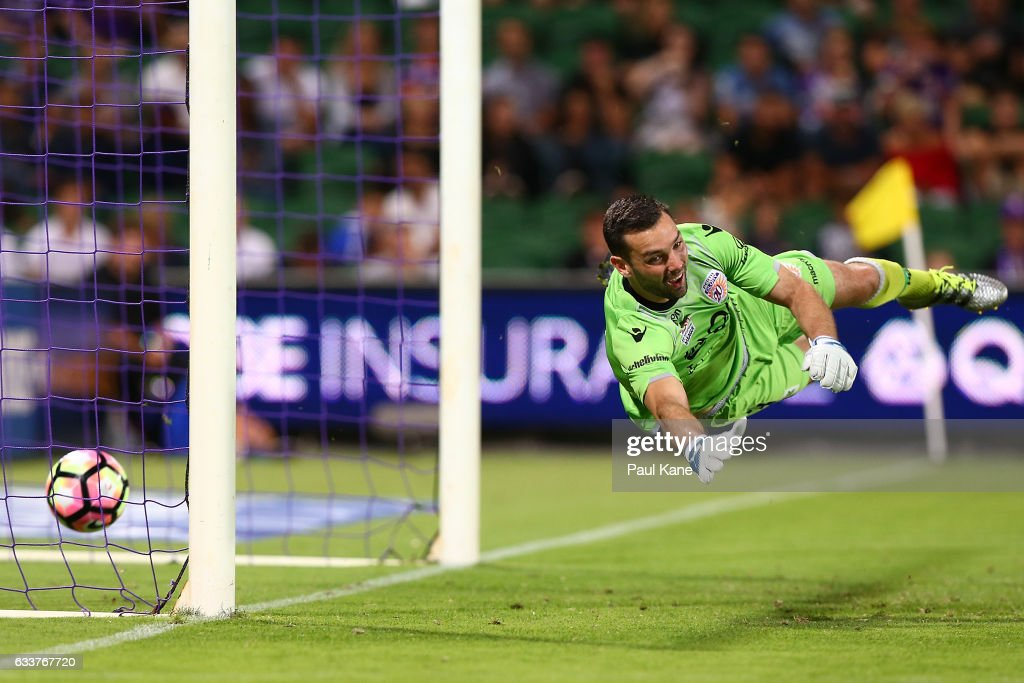 Nicholas Feely of the Glory misses a shot on goal by Andrew Hoole of the Jets during the round 18 A-League match between the Perth Glory and the Newcastle Jets at nib Stadium on February 4, 2017 in Perth, Australia.