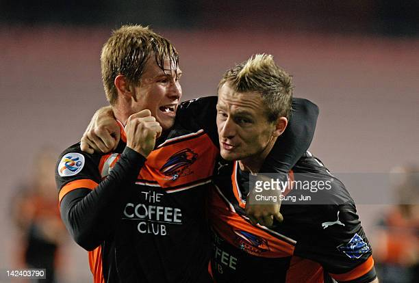 Nicholas Fitzgerald of Brisbane Roar celebrates after scoring a goal during the AFC Asian Champions League Group F match between Ulsan Hyundai and...