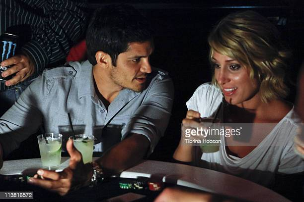 Nicholas Gonzales and Vienna Girardi play poker at the Velvet Margarita and Friends Of El Faro Annual Celebrity Poker Tournament at Velvet Margarita...