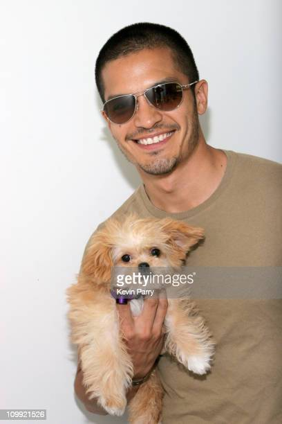 Nicholas Gonzalez and dog Chloe during Kari Feinstein Style Lounge Day 1 in Los Angeles California United States