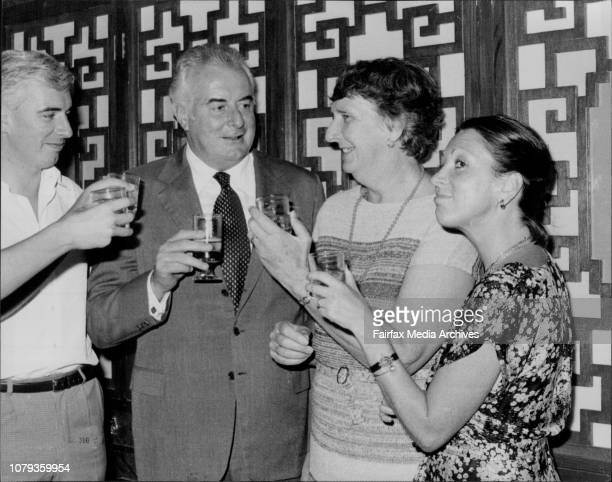 Nicholas Gough Margaret and Judy WhitlamPicture taken tonight of Mr Gough Whitlam and family who dined with press and staff of his department at the...