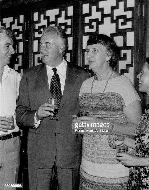 Nicholas Gough Margaret WhitlamPicture taken tonight of Mr Gough Whitlam and family who dined with press and staff of his department at the Tai Yuen...