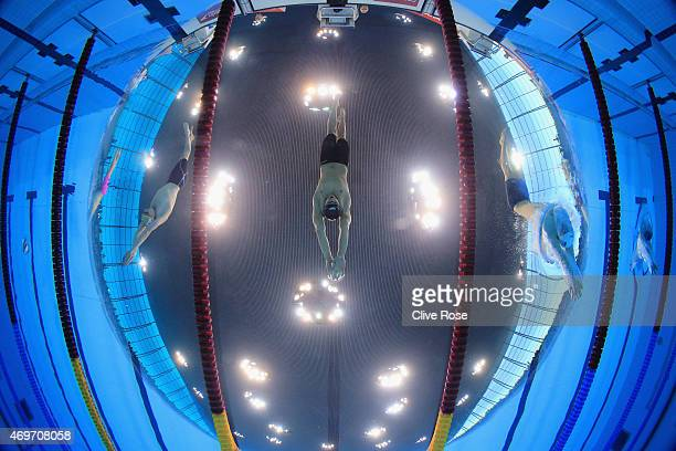 Nicholas Grainger of Sheffield starts the Men's 400m Freestyle Final on day one of the British Swimming Championships at Aquatics Centre on April 14...