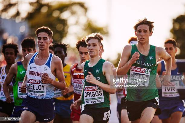 Nicholas Griggs of Ireland competes in the Men's 3000m Final during European Athletics U20 Championships Day 3 at Kadriorg Stadium on July 17, 2021...
