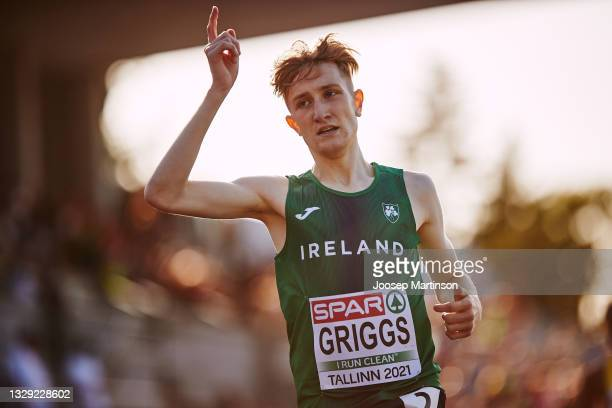 Nicholas Griggs of Ireland reacts in the Men's 3000m Final during European Athletics U20 Championships Day 3 at Kadriorg Stadium on July 17, 2021 in...