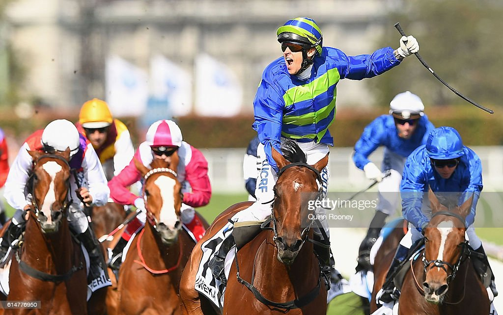 Nicholas Hall riding Jameka celebrates winningrace 8 the BMW Caulfield Cup during Caulfield Cup Day at Caulfield Racecourse on October 15, 2016 in Melbourne, Australia.