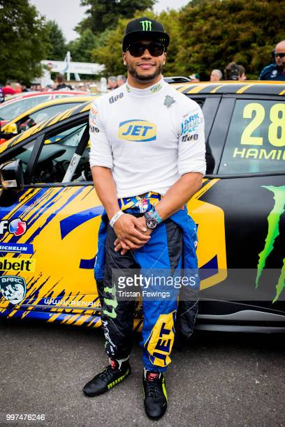 Nicholas Hamilton poses in front of his car during the Goodwood Festival Of Speed at Goodwood on July 12 2018 in Chichester England