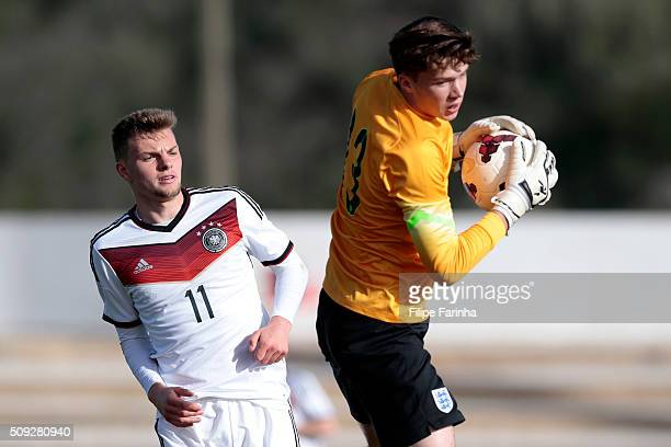Nicholas Hayes of England challenges Manuel Wintzheimer of Germany during the UEFA Under17 match between U17 England v U17 Germany on February 7 2016...