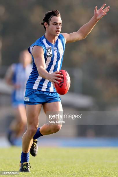 Nicholas Hogan of the Kangaroos during the round eight VFL match between the North Melbourne Kangaroos and the Box Hill Hawks at Avalon Airport Oval...
