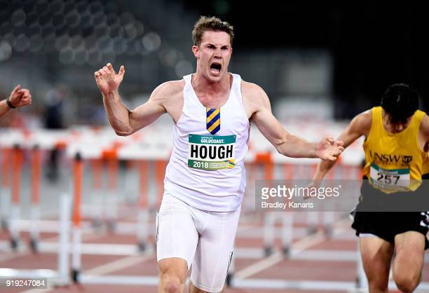 Nicholas Hough celebrates after winning the Men's 110m hurdle event during the Australian Athletics Championships Nomination Trials at Carrara...