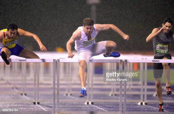 Nicholas Hough competes in the Men's 110m Hurdles during the Summer of Athletics Grand Prix at QSAC on March 22 2018 in Brisbane Australia
