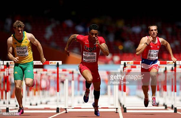 Nicholas Hough of Australia Aleec Harris of the United States and Milan Ristic of Serbia compete in the Men's 110 metres hurdles heats during day...