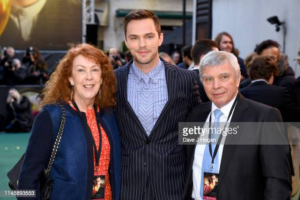 Nicholas Hoult and his parents attend the Tolkien UK premiere at The Curzon Mayfair on April 29 2019 in London England