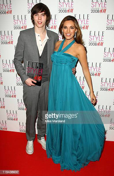 Nicholas Hoult and Kelly Brook poses in the press room at this year's Elle Style Awards 2008 at The Westway on February 12 2008 in London England