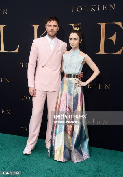 Nicholas Hoult and Lily Collins arrive at the LA Special Screening of Fox Searchlight Pictures' Tolkien at the Regency Village Theatre on May 08 2019...