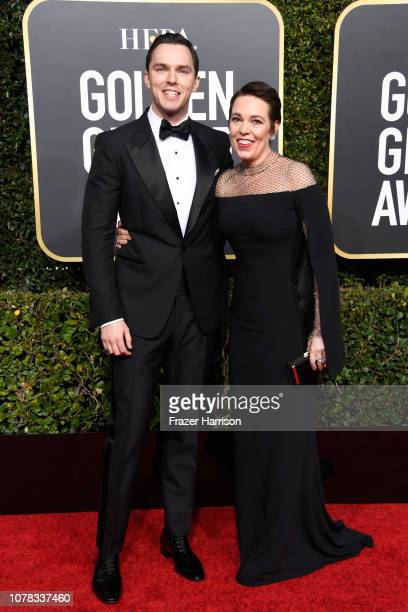 Nicholas Hoult and Olivia Colman attend the 76th Annual Golden Globe Awards at The Beverly Hilton Hotel on January 6 2019 in Beverly Hills California