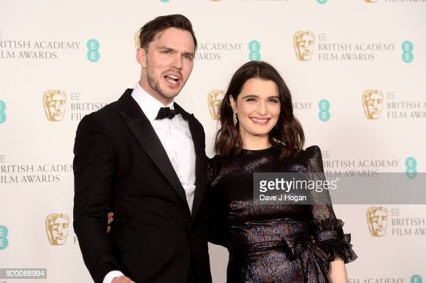 Nicholas Hoult and Rachel Weisz pose in the press room during the EE British Academy Film Awards held at Royal Albert Hall on February 18 2018 in...