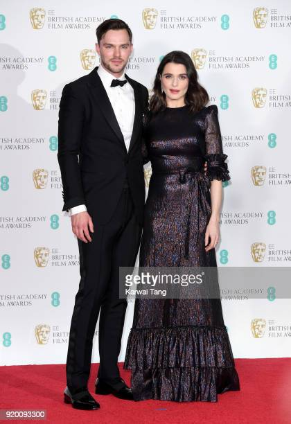 Nicholas Hoult and Rachel Weisz pose in the press room during the EE British Academy Film Awards held at the Royal Albert Hall on February 18 2018 in...