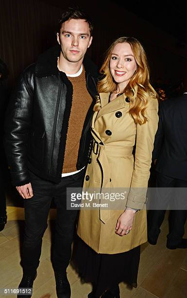 Nicholas Hoult and Rosanna Hoult wearing Burberry at the Burberry Womenswear February 2016 Show at Kensington Gardens on February 22 2016 in London...