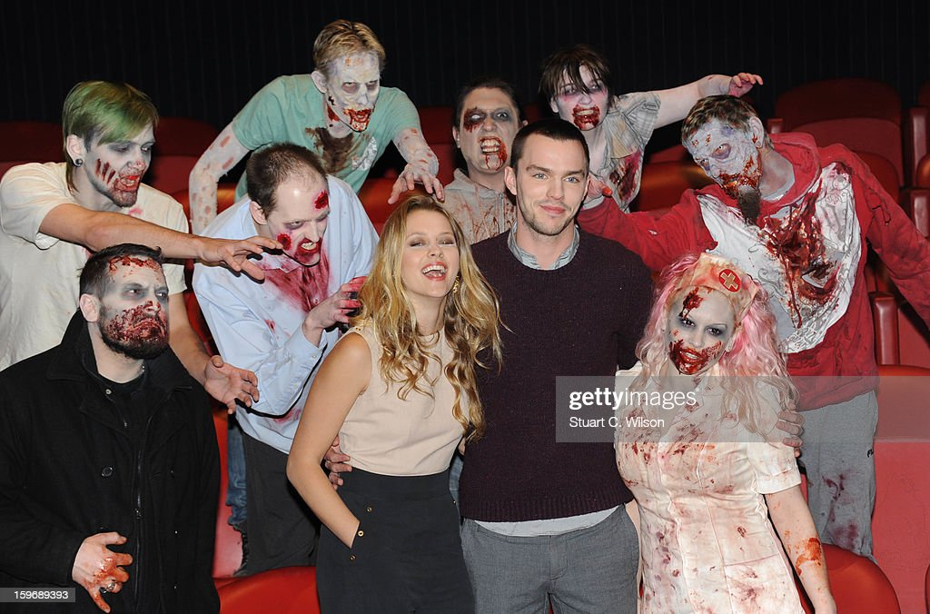Nicholas Hoult and Teresa Palmer attend the photocall for 'Warm Bodies' at Soho Hotel on January 18, 2013 in London, England.