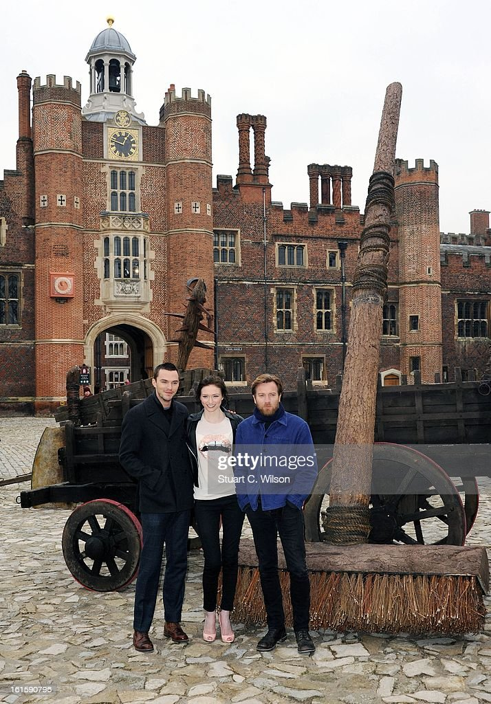 Nicholas Hoult, Eleanor Tomlinson and Ewan McGregor attend a photocall for 'Jack The Giant Slayer' at Hampton Court Palace on February 12, 2013 in London, England.