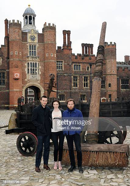 Nicholas Hoult Eleanor Tomlinson and Ewan McGregor attend a photocall for 'Jack The Giant Slayer' at Hampton Court Palace on February 12 2013 in...