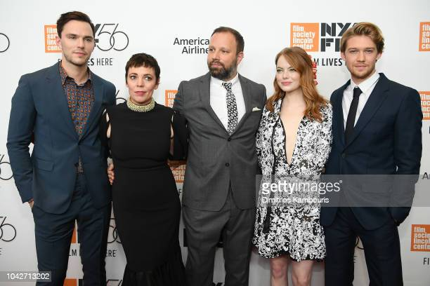Nicholas Hoult Olivia Colman Yorgos Lanthimos Emma Stone and Joe Alwyn attend the opening night premiere of The Favourite during the 56th New York...