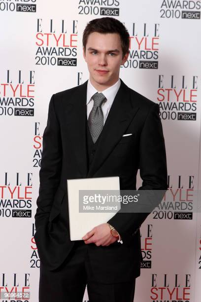 Nicholas Hoult poses in the Winner's room with Nicholas Hoult at the ELLE Style Awards 2010 at the Grand Connaught Rooms on February 22, 2010 in...