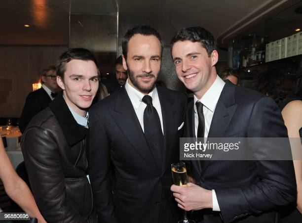 Nicholas Hoult Tom Ford and Matthew Goode attend private dinner hosted by Vogue Editor Alexandra Shulman and Nick Jones on February 19 2010 in London...
