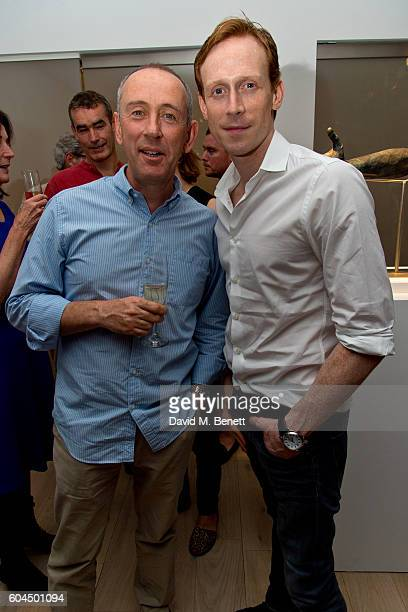 Nicholas Hytner and Edward Watson attends a private view of 'The Human Hand' a new exhibition of sculptures by Nicole Farhi at Bowman Sculpture on...