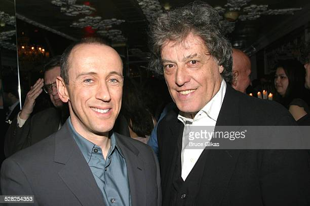 Nicholas Hytner and Tom Stoppard during Opening Night of Jumpers on Broadway at Brooks Atkinson Theater in New York City New York United States
