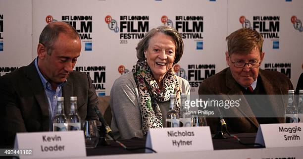 Nicholas Hytner Maggie Smith and Alan Bennett at 'The Lady In The Van' Press Conference at Claridges Hotel on October 13 2015 in London England