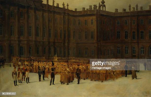 Nicholas I before the Unit Formation of the LifeGuards Field Engineer Battalion in the Court of the Winter Palace on 14 Decembe Found in the...