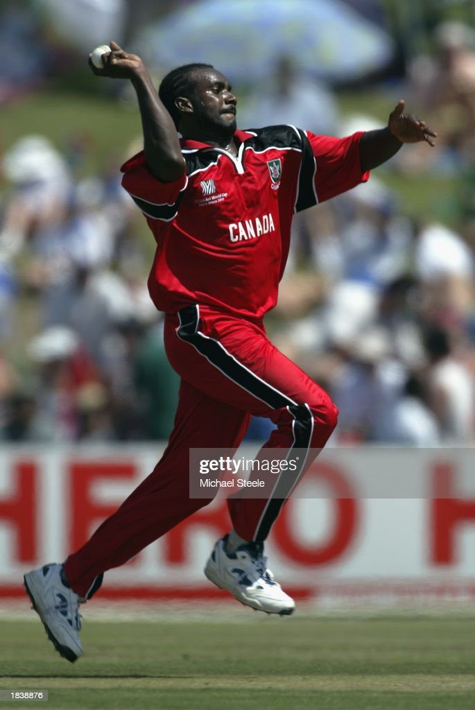 Nicholas Ifill of Canada bowling during the ICC Cricket World Cup Pool B match between South Africa and Canada held on February 27, 2003 at Buffalo Park in East London, South Africa. South Africa won the match by 118 runs.