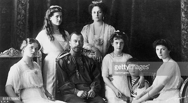 Nicholas II , Czar pictured with his family: Duchess Olga, Duchess Marie, the Grand Duchess Anastasia, the Czarevitch Alexis, the Grand Duchess...